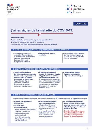 Quelles conduites adopter et quel sera mon parcours dès que j'ai les signes du COVID-19