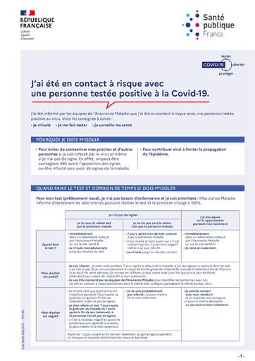 J'ai été en contact avec un cas positif à la COVID-19
